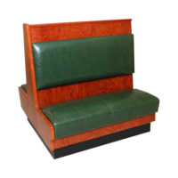 red wood booth with green cushion Crystal Minnesota